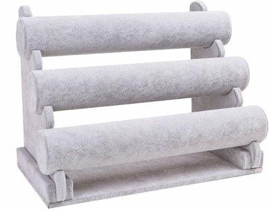 armbanden 3 rol grijs velours