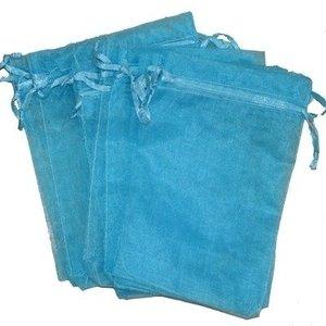 Organza zakjes turquoise 10 x 15 cm